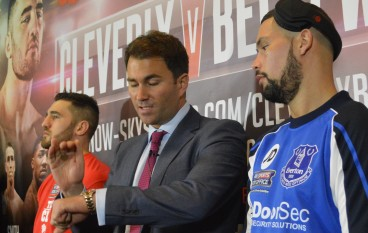 Bellew slaps Cleverly's 2-0 hand gesture at press conference